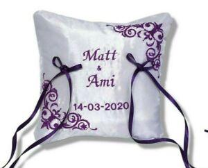 Personalised Wedding Bearer Ring Cushion Pillow Cadbury Purple Custom Handmade