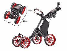"CaddyTek ""One-click"" Folding 4 Wheel Golf Push Cart, CaddyCruiser ONE - V4, RED"