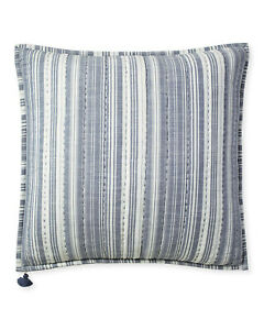NWT Serena & Lily Seafair 100% Cotton Pillow Cover -Quilted Blue Stripe Chambray