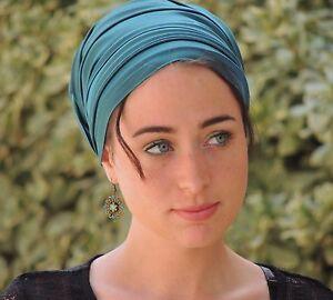 Turqoise Stretch SATIN TURBAN Tichel Snood, Head Scarf, Head Covering, Hijab