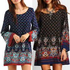 Boho Women's Printed Mini Dress Ladies Loose Long Sleeve Casual Dresses Oversize