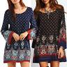 Boho Women's Printed Mini Dress Ladies Loose Long Sleeve Casual Dresses Oversize