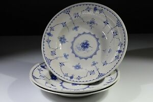 Vintage Furnivals Denmark Blue & white china- 3 rimmed cereal/soup/dessert bowls