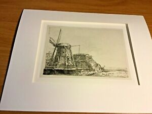 """""""The Windmill"""" By Rembrandt Print Signed in Plate 5 1/2"""" x 7 1/2"""""""
