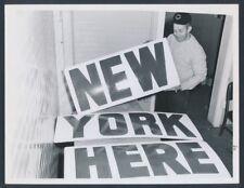"1959 Cleveland Indians Clubhouse Boy, ""Finishing New Stadium Signs"" Rare Photo"