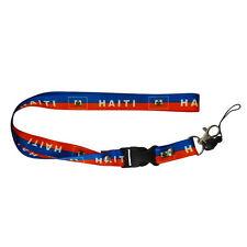HAITI COUNTRY FLAG LANYARD KEYCHAIN PASSHOLDER .. NEW