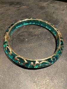 Angelique de Paris French Oasis Lagoon Gold Plate Bracelet - Excellent Condition