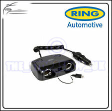 Ring 2 Way 12V Multisocket With Micro USB & Switches Adaptor Flat Mount RMS14