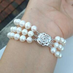 "Triple Strands 7-8MM AAA South Sea White Pearl Bracelet 7.5-8"" Timeless"