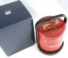 Vintage KEIO Dark Red Black ORIENTAL Lacquered BENTO Lunch Snack BOX Boxed