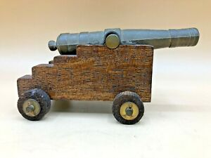 Vintage Wood / Iron Miniature Display Naval / Signal Cannon