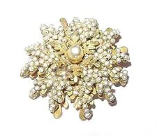 Vintage Miriam Haskell Baroque Seed Pearl & Antiques Brass Brooch