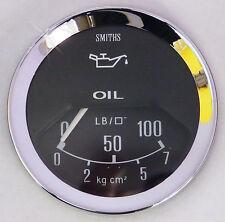 Smiths Classic Car Oil Pressure Gauge with Chrome Bezel & Black Face, PL2328-00C