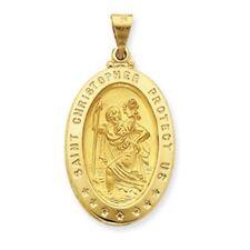14K Gold XXLarge St Saint Christopher Medal Hollow Oval Pendant NEW
