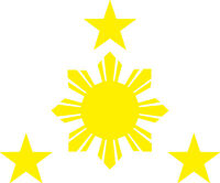 20 X PHILIPPINES STARS AND SUN VINYL DECAL 116MM BY 90 MM apr.  yellow