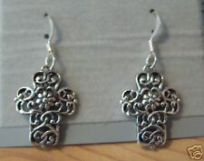 Sterling Silver Cut Out Lace 20x15mm Cross on 15mm french Wire Earrings