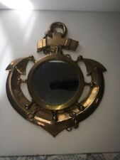 "12"" Anchor Brass Mirror ~ Pirate~ Nautical~ Maritime~"
