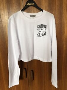Calvin Klein Jeans cropped logo embroidered top Bright White Large BNWT RRP £60