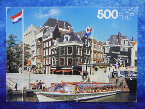 """VINTAGE Amsterdam Holland Canal Photo 500 PIECE JIGSAW PUZZLE by Hestair 14""""x19"""""""