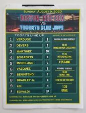 Authentic Game Used Lineup Card from 8/9/20 Boston Red Sox Toronto Blue Jays MLB