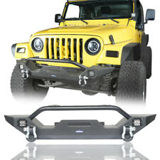 Front Bumper w/LED Lights &Winch Plate Black Steel for Jeep Wrangler TJ YJ 87-06