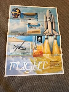 """Map of the Moon, 23x32"""" 2 Sided Poster 1 Flight Of Planes & National Monuments"""