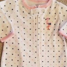 CARTER'S NEWBORN PINK TERRY CLOTH FLAMINGO FOOTED SLEEP N PLAY OUTFIT ADORABLE