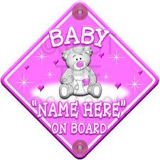 Nuevo * Baby Girl * Rosa De Peluche De Estrellas Y Corazones * Personalizada Bebé a bordo de signo