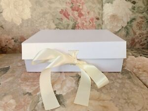 Wholesale 50 Pcs White Shimmering Box With Ivory Ribbon - Wedding, Shower Gift