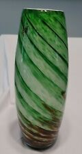HQT art glass 13 in. tall, hand-made glass vase in green & amber shades