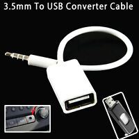 New Car 3.5mm Male to USB 2.0 Female MP3 AUX Audio Plug Converter Cable Adapter