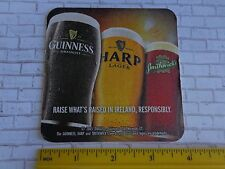 Beer Coaster ~^~ Three Beers Strong: Guinness Stout, Harp Lager, Smithwick's Ale