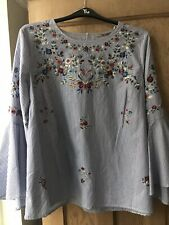 Blue Stripe Embroidered Blouse Flute Sleeve Size 20 New