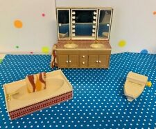 Vintage Tomy Dollhouse Bathroom Furniture 3 Pieces with Accessories