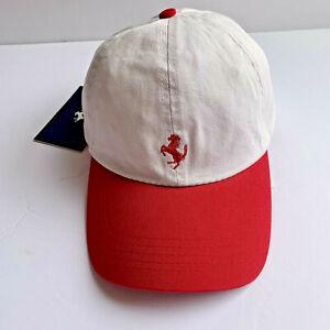 Ferrari Mens White Red Stallion Embroidered Adjustable Strap Baseball Hat Cap
