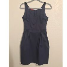 Prada Blue Cotton Sleeveless Dress w Black Elastic Straps Size 44