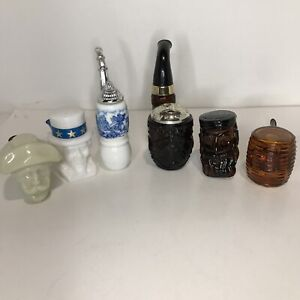 VINTAGE AVON PIPES MEN's AFTERSHAVE COLOGNE DECANTERS LOT OF 6 COLLECTIBLE SET