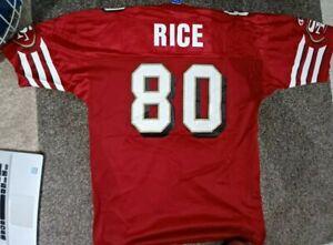 VTG 90s Red Champion Jerry Rice 80 San Francisco 49ers NFL Football Jersey sz 48