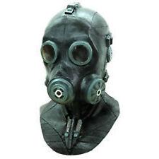 Deluxe Black Smoke Full Head Latex Gasmask Adult Halloween Costume Mask