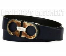 Salvatore Ferragamo Blue Black 42 Reversible Resin Gancini Buckle Belt Auth