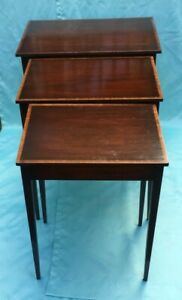 Antique Set of 3 Solid Mahogany Wood Federal Style Stacking Nesting Tables