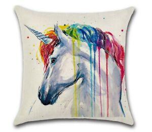 Rainbow Unicorn Fantasy Zebra Animal Colour Splash Square Cushion Cover Gift