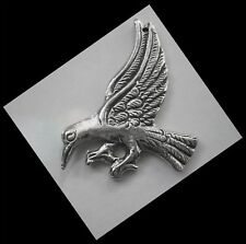PEWTER CHARM #1152 RAVEN / CROW (36mm x 27mm) 1 hole BIRD PENDANT