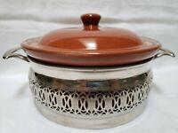 Vintage pottery holder with Weller brown stoneware casserole dish Original RARE