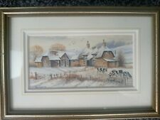 MINATURE WATERCOLOUR PAINTING BY REX TRAYHORNE WINTER MORNING
