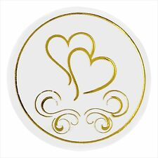 Heart Envelope Stickers x 50 Silver Gold Seals for Wedding Invitations