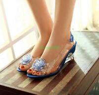 Womens Flower peep Toe rhinestone Shoes transparent Wedge Heels Sandals new
