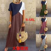Hot Women Summer Casual Geometric Long Maxi Dress Beach Dress Sundress Plus Size