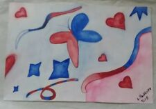 Watercolor Art 100% Hand Painted 'Butterfly & Hearts'  by L. Pedroso