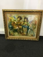 "Vintage Vilmon **Original Oil Painting ""Children"" W. T. Burger Co. Framed Canvas"